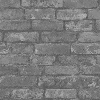 Fine Decor rustic brick sidewall black / grey wallpaper