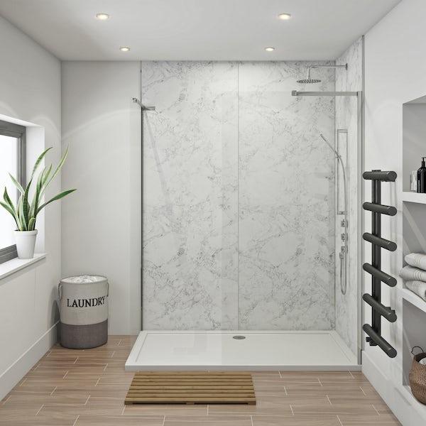 Mode 8mm walk in shower enclosure pack 1700 x 700 with Multipanel Linda Barker Bianca Luna shower wall panels