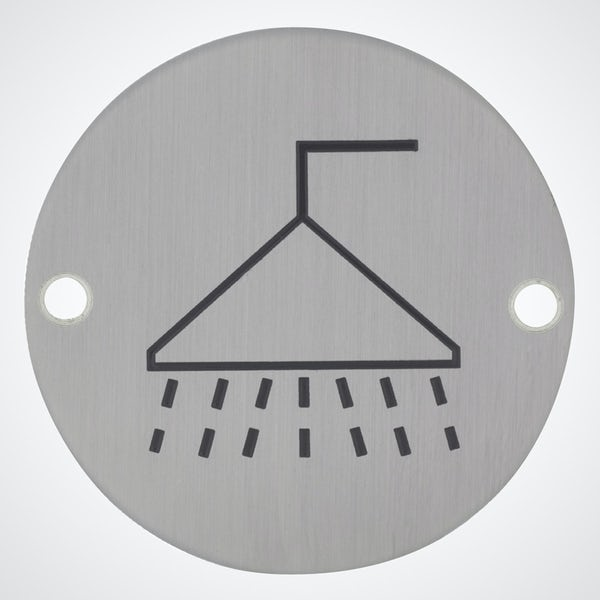 Dolphin pictograph shower sign round