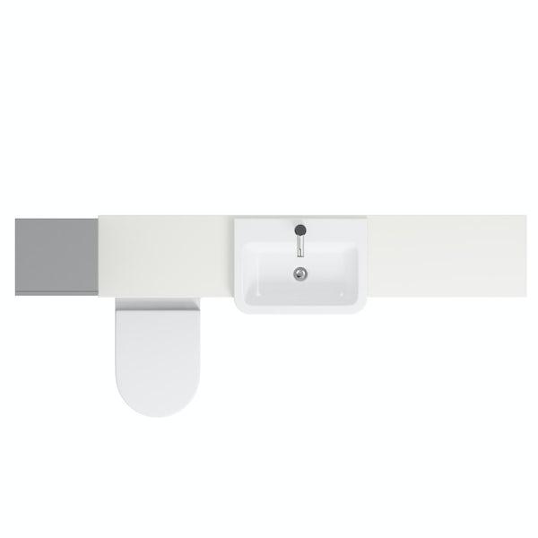 Orchard Wharfe slate matt grey straight medium drawer fitted furniture pack with white worktop