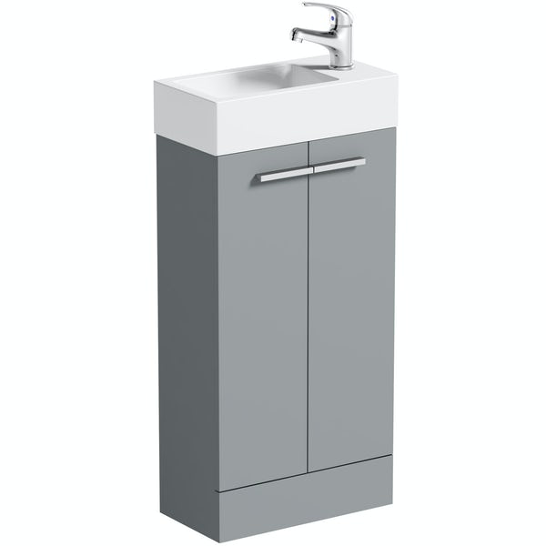 Clarity Compact satin grey floorstanding vanity unit and basin 410mm with tap