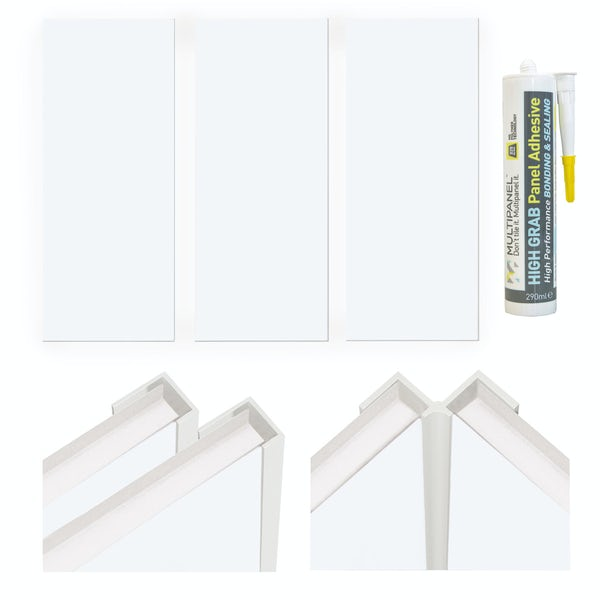 Multipanel Economy Snow Drift shower wall panel installation set for enclosures over 1000 x 1000