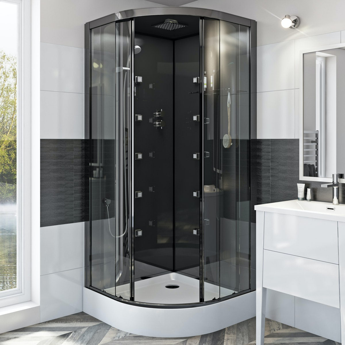 Mode Quadrant Black Glass Backed Hydro Massage Shower Cabin 900 X 900 From Victoriaplum Com