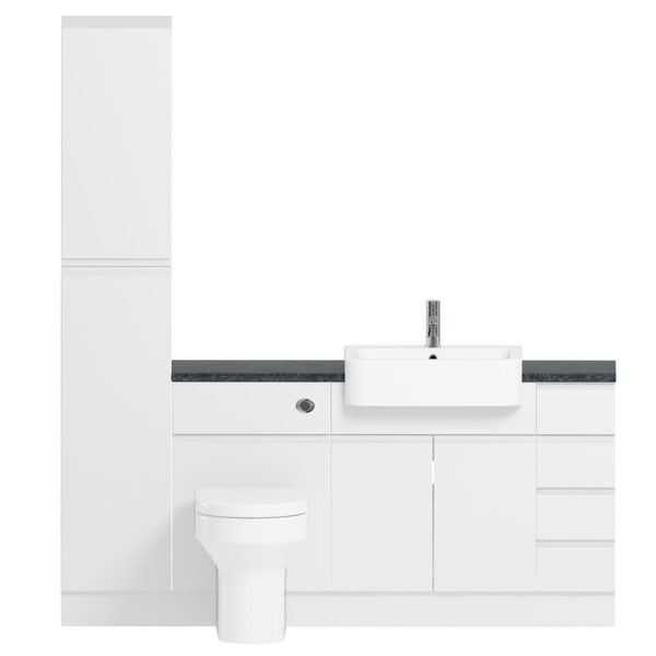 Reeves Wharfe white straight small drawer fitted furniture pack with black worktop
