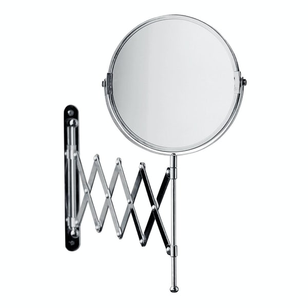 Wall mounted vanity mirror with folding arm