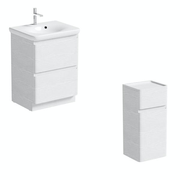 Mode Heath white LED floorstanding vanity unit and basin 600mm and storage unit set