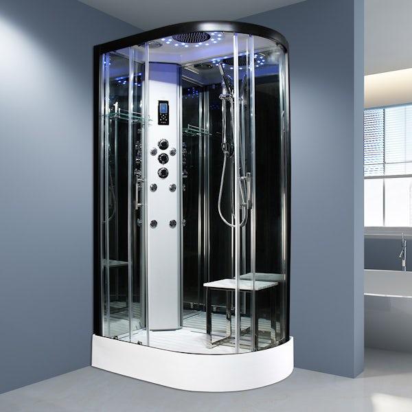 Insignia Platinum black framed offset quadrant left handed shower cabin 1100 x 700
