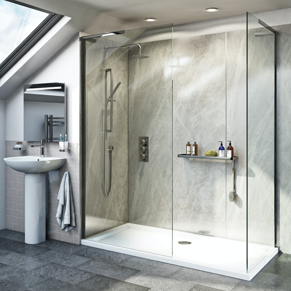 Mode 8mm Walk In Shower Enclosure Pack With Stone Shower