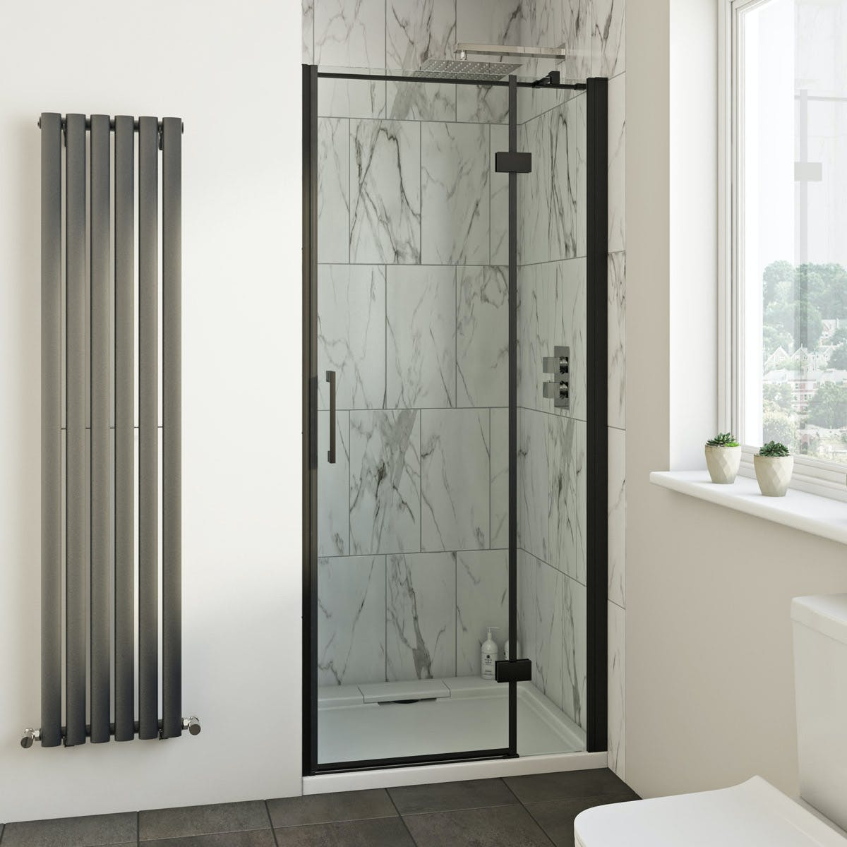 Mode Cooper Black Hinged Easy Clean Shower Door