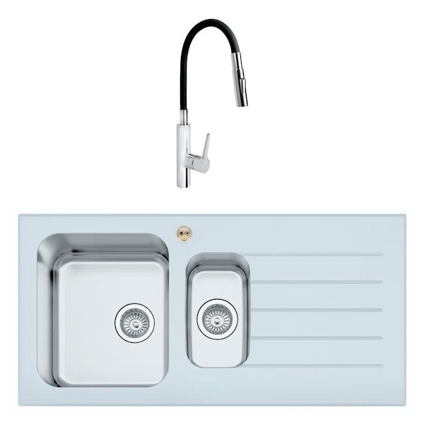 Bristan Gallery glacier right handed white glass easyfit 1.5 bowl kitchen sink with Flex tap
