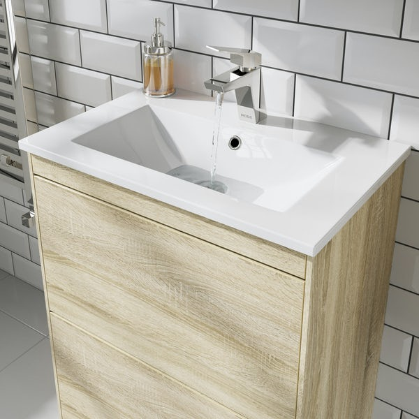 Mode Austin oak vanity unit and basin 600mm