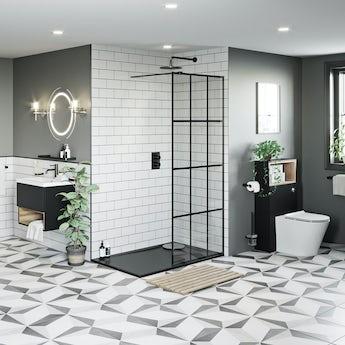 Mode 8mm black framed wet room panel with left handed 8mm black granite effect shower tray 1200 x 800