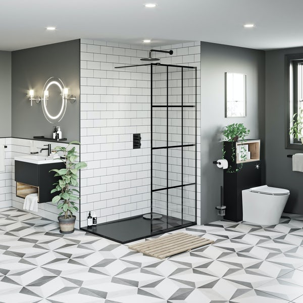 Mode 8mm black framed wet room panel with left handed 8mm black granite effect shower tray 1200 x 800