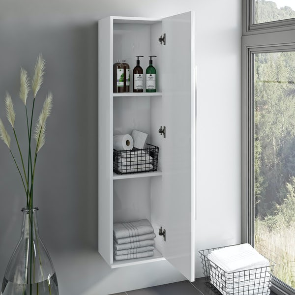 Orchard Derwent white furniture package with countertop shelf 600mm