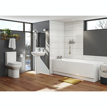 Orchard Wharfe bathroom suite with straight bath