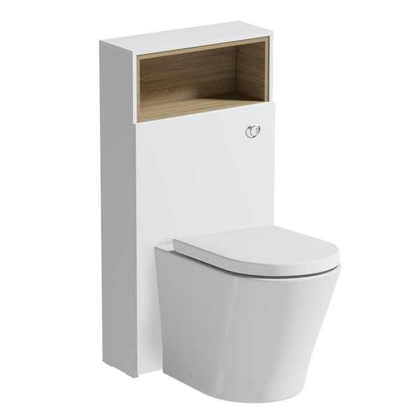 Mode Tate II white & oak back to wall unit and toilet with soft close seat