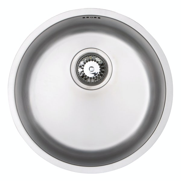 Schon Rydal classic round undermount  single bowl stainless steel kitchen sink with waste