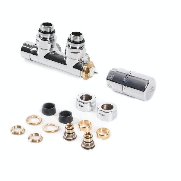 Terma chrome angled 50mm integrated thermostatic H block valve set - left