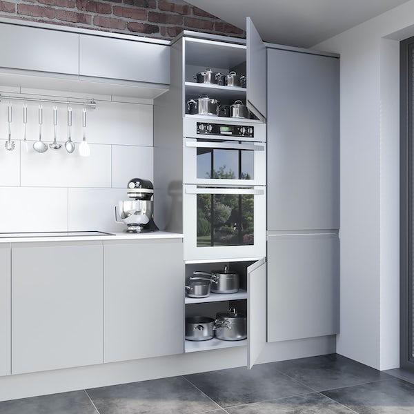 Schon Chicago light grey handleless 600mm double oven housing unit