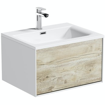 Mode Burton white & rustic oak wall hung vanity unit and basin 600mm