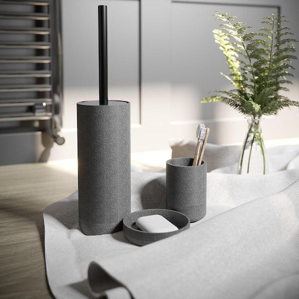 Accents Runswick grey ceramic 3 piece bathroom set with soap dish