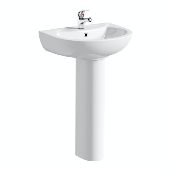 Clarity 1 tap hole full pedestal basin 540mm with tap