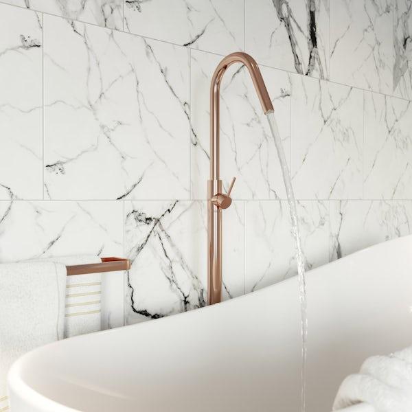 Mode Spencer round rose gold freestanding bath filler tap