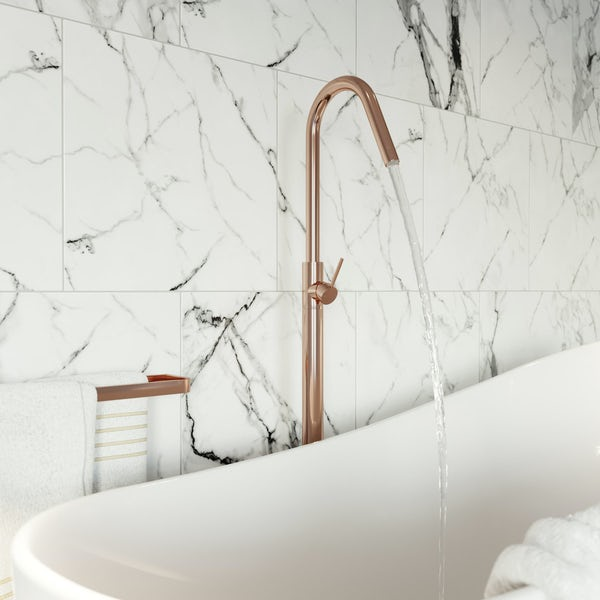 Mode Spencer round rose gold freestanding bath filler tap