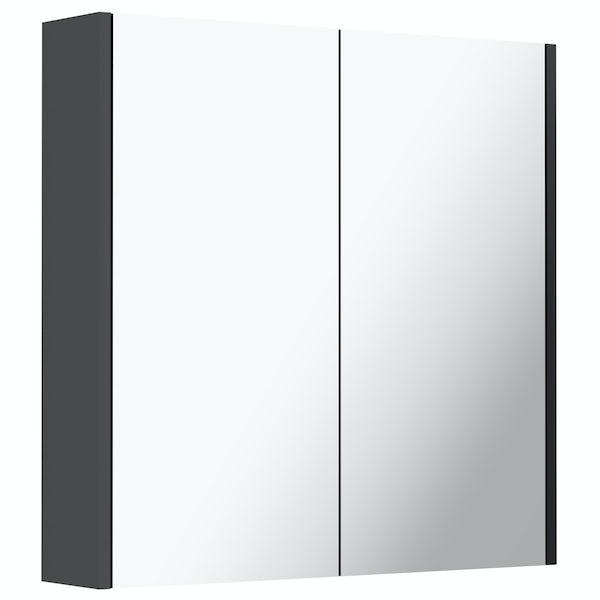 Mode Cooper anthracite black mirror cabinet 650mm