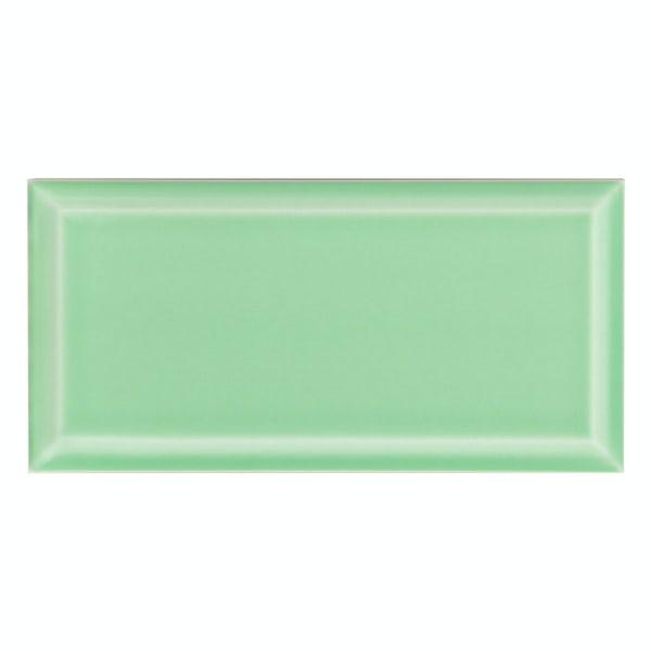 Deep Metro mint green bevelled gloss wall tile 100mm x 200mm