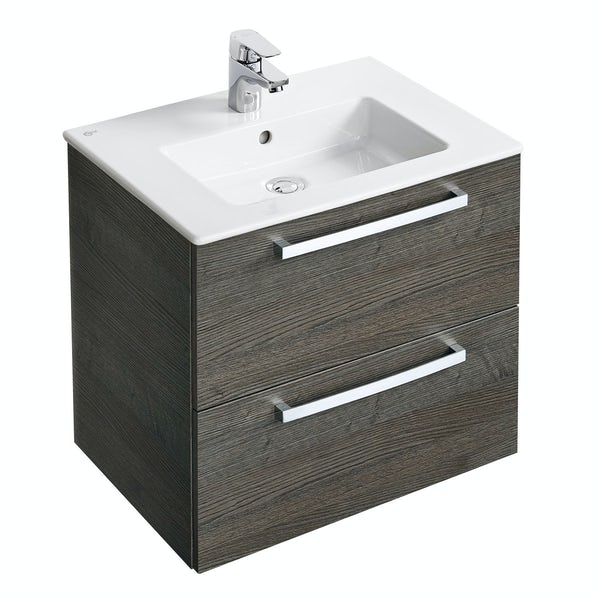 Ideal standard tempo sandy grey wall hung vanity and basin for Ideal standard diagonal