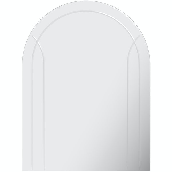 Accents bevelled edge arched mirror with with etching 60 x 45cm