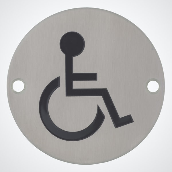 Dolphin pictograph disabled toilet sign