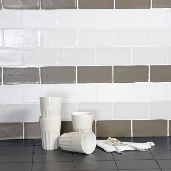 Annecy white matt wall tile 75mm x 150mm