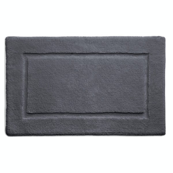 Hug Rug luxury bamboo border graphite bathroom mat 50 x 80cm