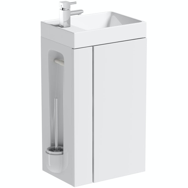 Orchard Compact White Vanity Unit With Toilet Roll Holder Brush