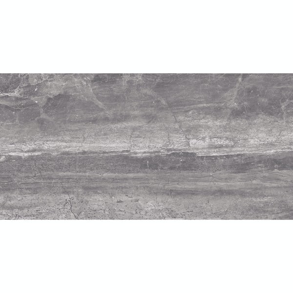 Beau graphite lappato semi polished stone effect wall and floor tile 300mm x 600mm
