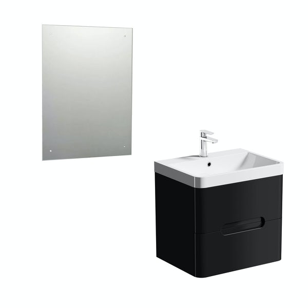 Planet Black 600 wall hung vanity unit with mirror offer