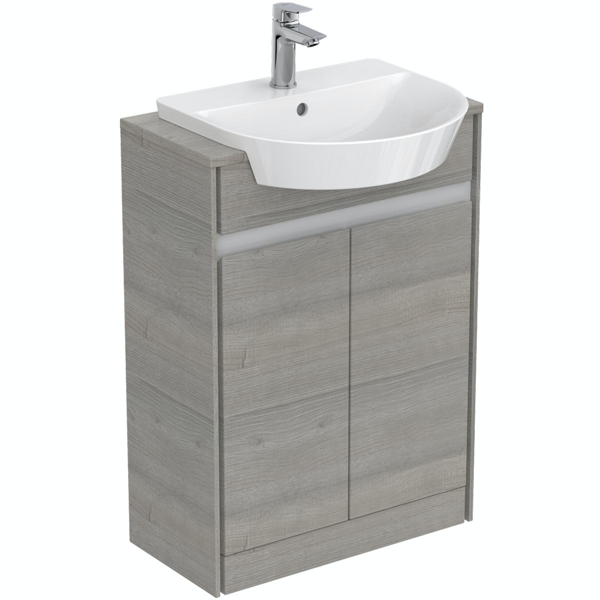 Ideal Standard Concept Air wood light grey and matt white wall hung vanity unit and recessed  basin 600mm