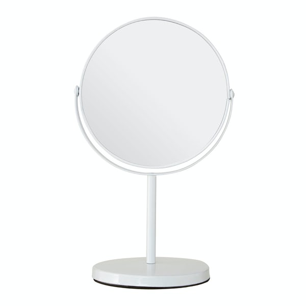 White large freestanding vanity mirror with 2x magnification