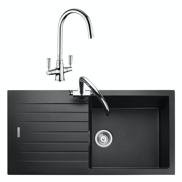 Rangemaster Andesite 1.0 bowl granite kitchen sink with waste and Aquaclassic tap