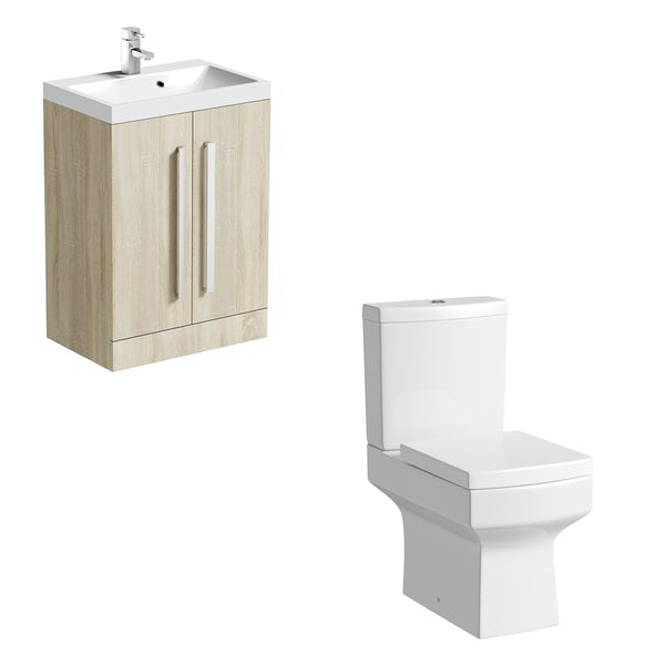Orchard Wye close coupled toilet and oak vanity unit suite 600mm