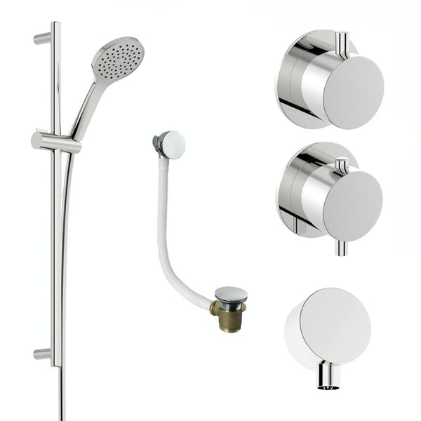 Mode Hardy thermostatic shower valve and slider rail shower bath set ...