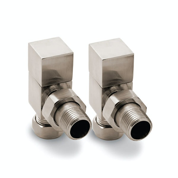 Reina Loge brushed angled radiator valves