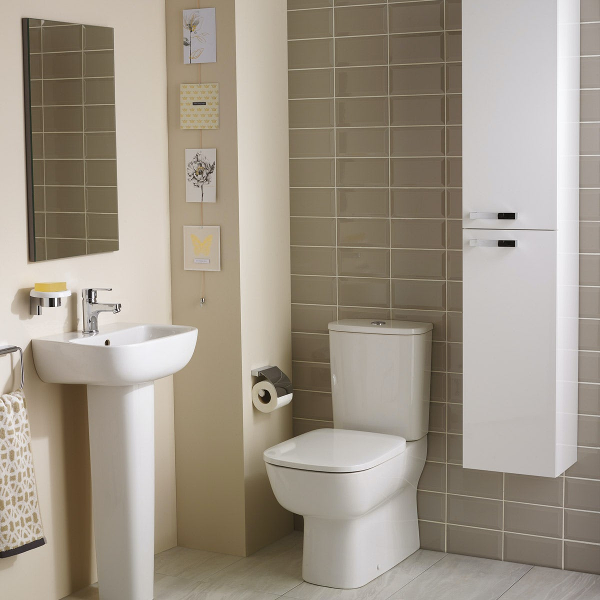 Ideal Standard Studio Echo cloakroom suite with close coupled toilet and full pedestal basin 450mm