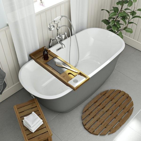 The Bath Co. Camberley gloss grey traditional freestanding bath 1500 x 720