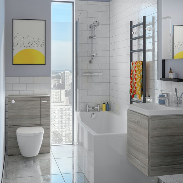 Ideal Standard Concept Space elm complete left handed shower bath suite with shower, back to wall unit, bath screen, taps, panel and waste 1700 x 700