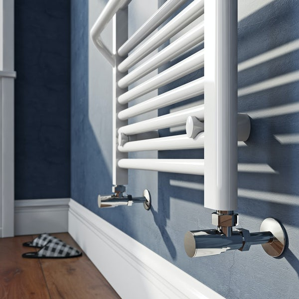 Mode Rohe white heated towel rail with hangers