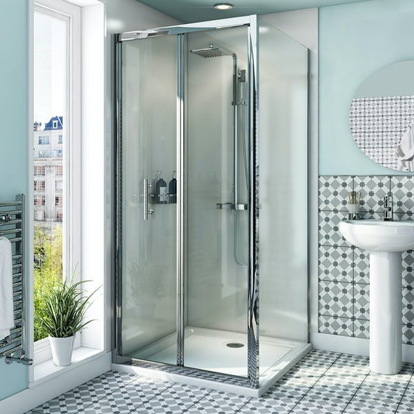 Orchard 6mm bifold shower enclosure with anti-slip tray