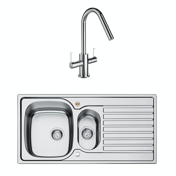 Bristan Inox easyfit universal sink 1.5 bowl stainless steel with cashew tap